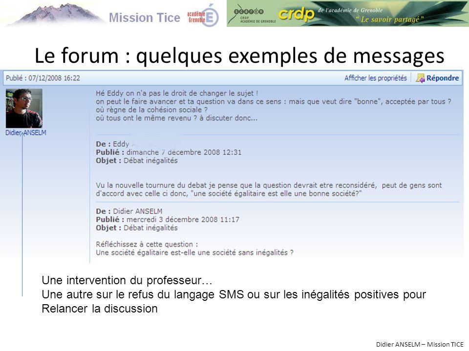 Le forum : quelques exemples de messages