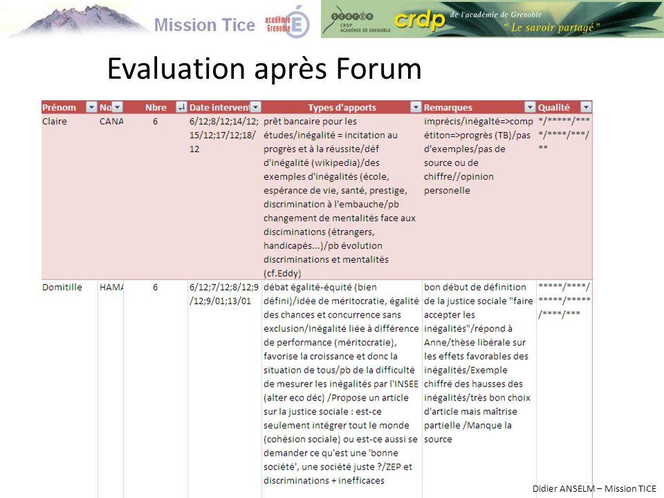Evaluation après Forum