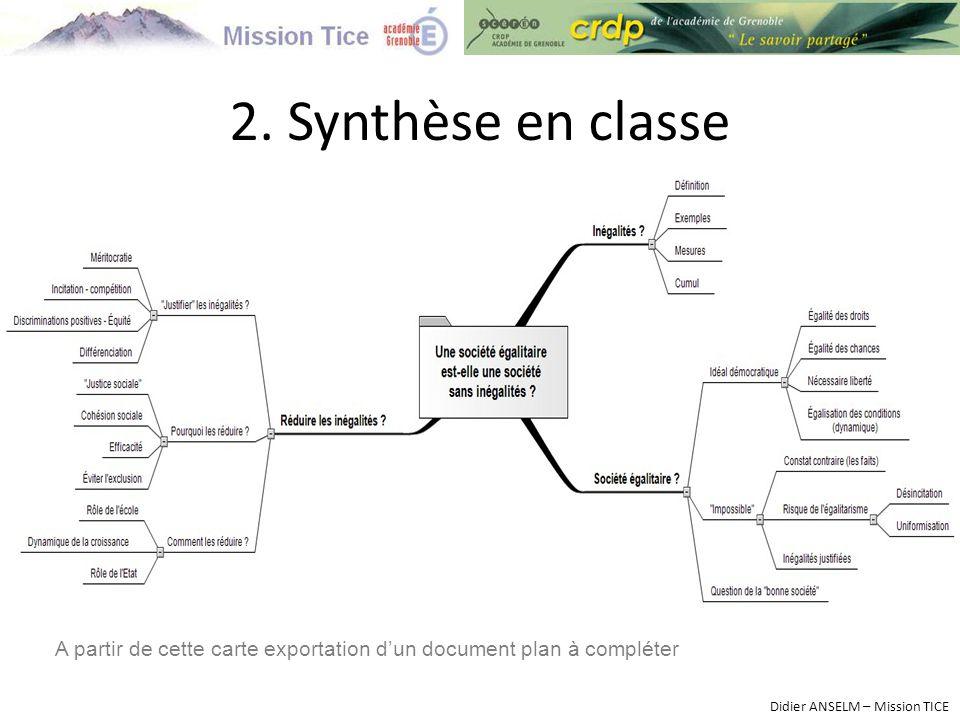 2. Synthèse en classe A partir de cette carte exportation d'un document plan à compléter.