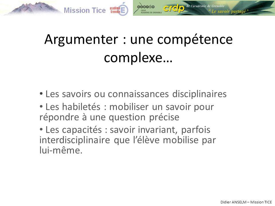 Argumenter : une compétence complexe…