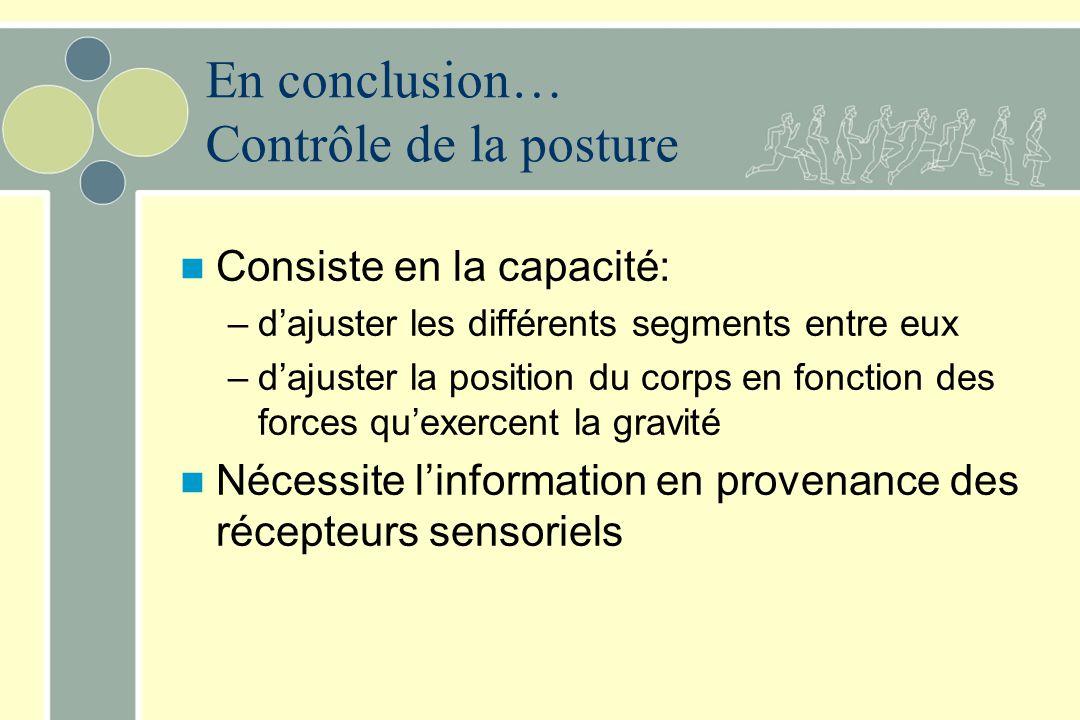 En conclusion… Contrôle de la posture