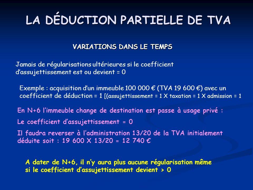 LA DÉDUCTION PARTIELLE DE TVA VARIATIONS DANS LE TEMPS