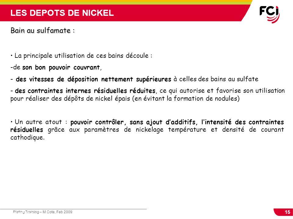 LES DEPOTS DE NICKEL Bain au sulfamate :