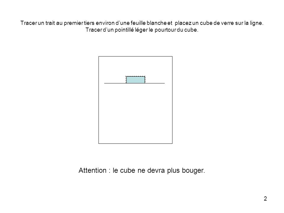 Attention : le cube ne devra plus bouger.