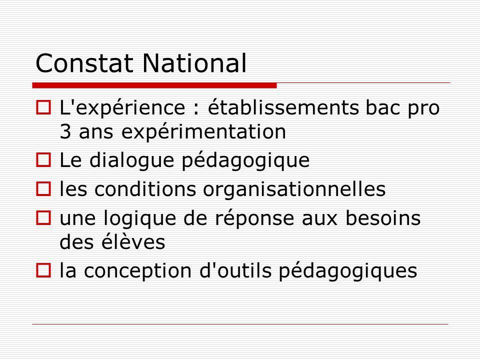 Constat National L expérience : établissements bac pro 3 ans expérimentation. Le dialogue pédagogique.