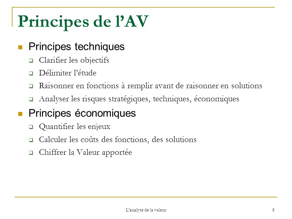 Principes de l'AV Principes techniques Principes économiques