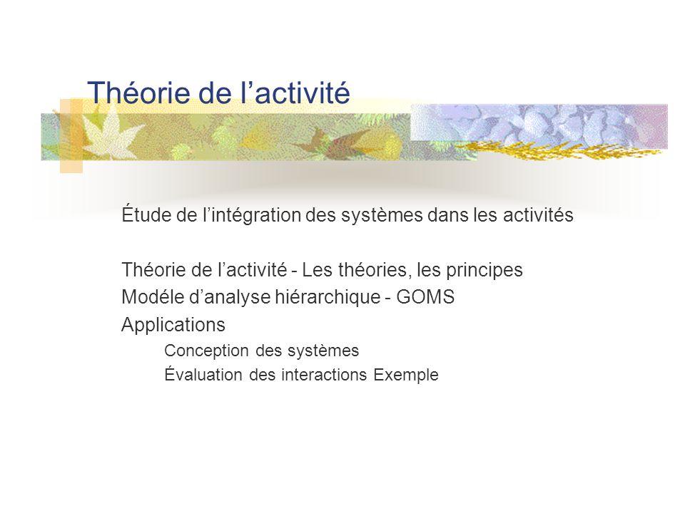 Théorie de l'activité Étude de l'intégration des systèmes dans les activités. Théorie de l'activité - Les théories, les principes.