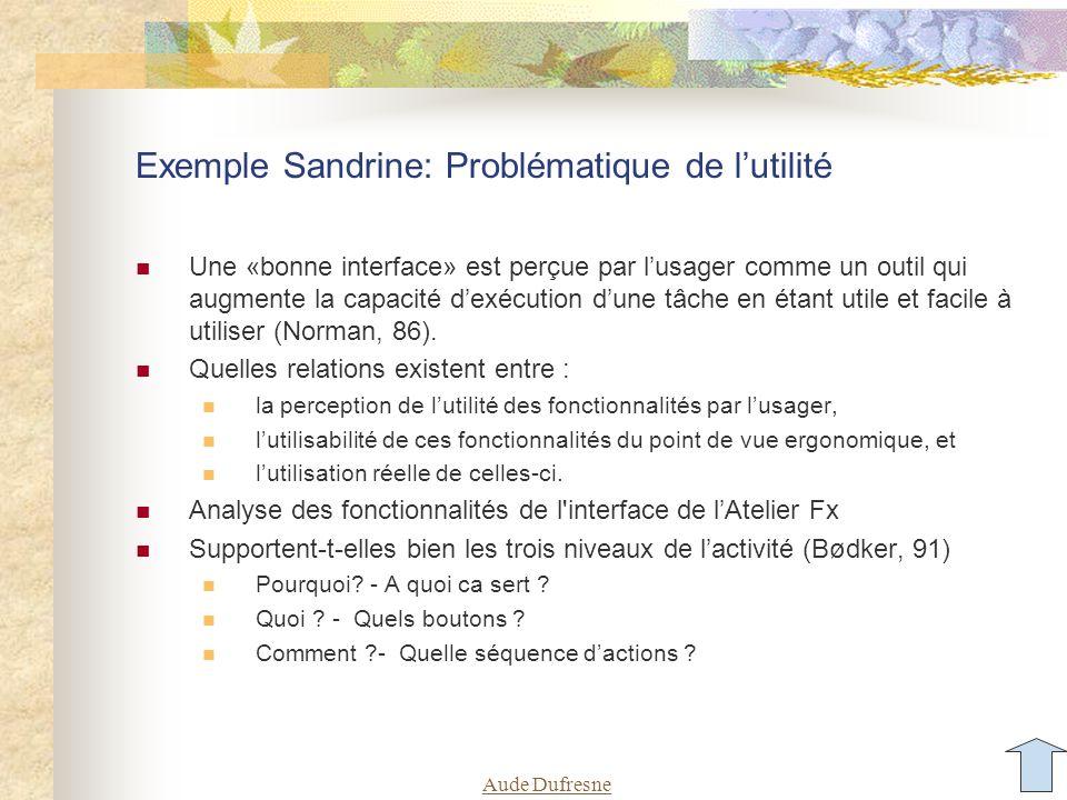 Exemple Sandrine: Problématique de l'utilité
