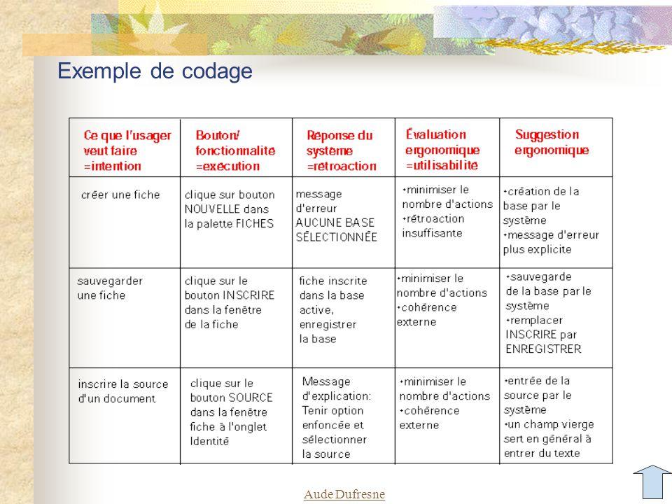 Exemple de codage Aude Dufresne