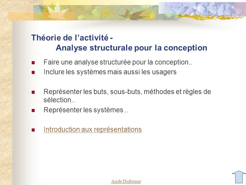 Théorie de l'activité - Analyse structurale pour la conception