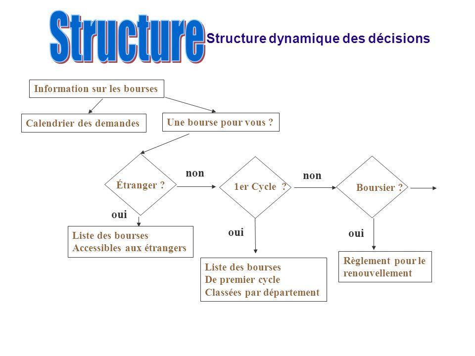 Structure Structure dynamique des décisions non non oui oui oui