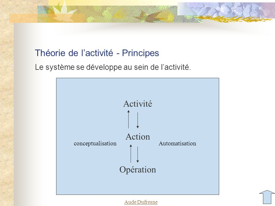Théorie de l'activité - Principes