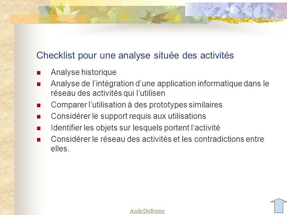 Checklist pour une analyse située des activités