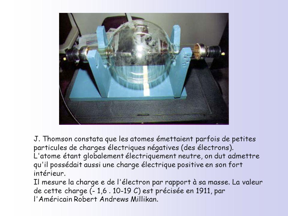 J. Thomson constata que les atomes émettaient parfois de petites particules de charges électriques négatives (des électrons).