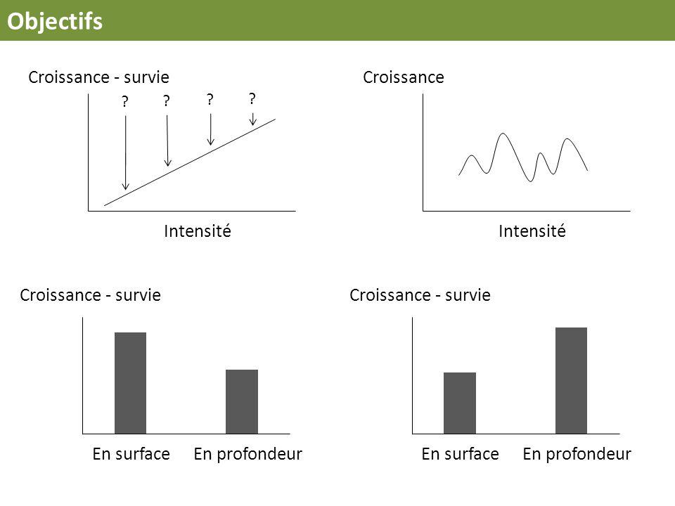 Objectifs Intensité Croissance - survie Intensité Croissance