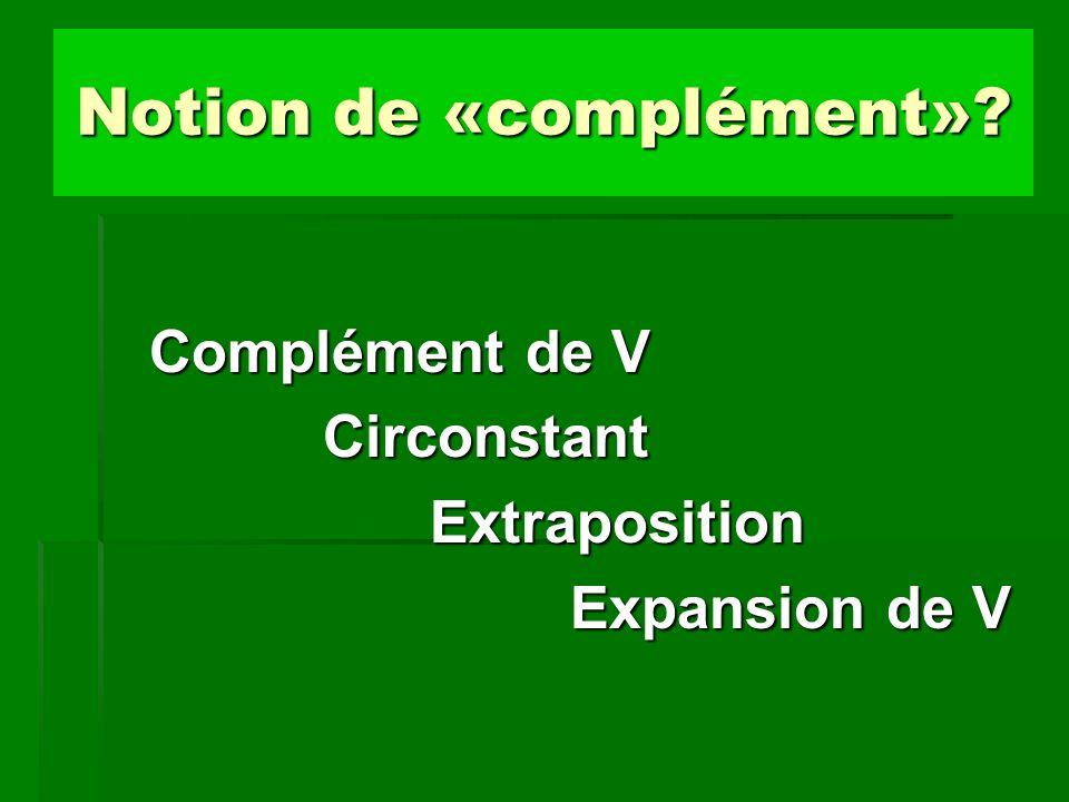Notion de «complément»