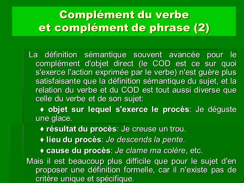 Complément du verbe et complément de phrase (2)