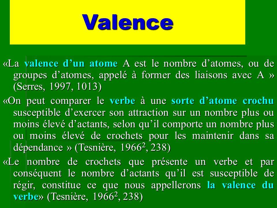 Valence «La valence d'un atome A est le nombre d'atomes, ou de groupes d'atomes, appelé à former des liaisons avec A » (Serres, 1997, 1013)