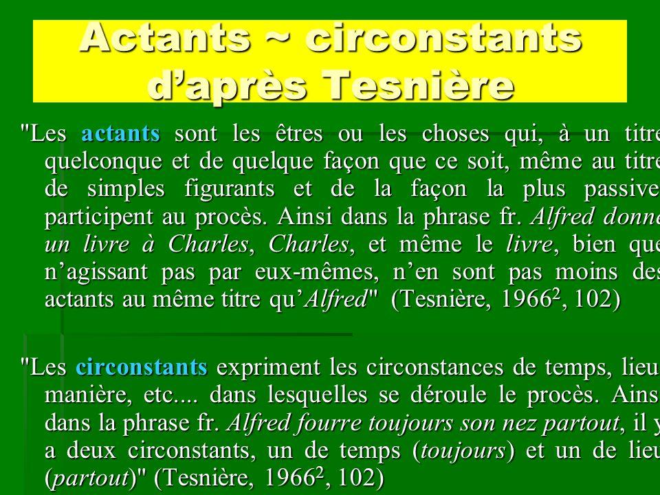 Actants ~ circonstants d'après Tesnière
