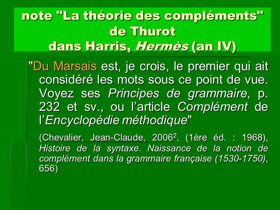note La théorie des compléments de Thurot dans Harris, Hermès (an IV)