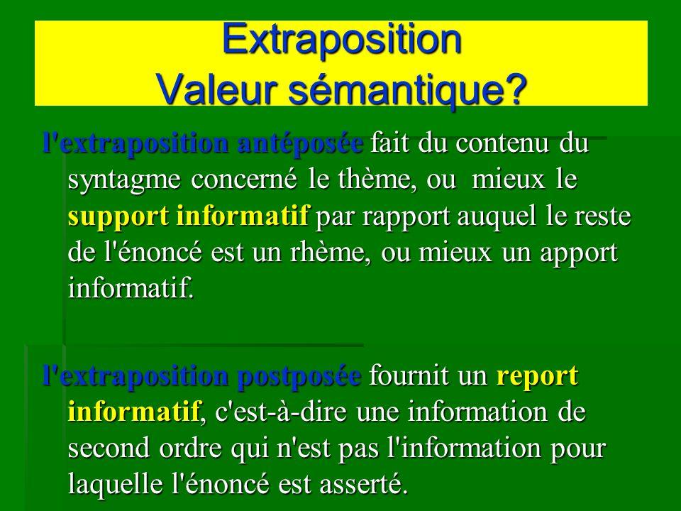 Extraposition Valeur sémantique