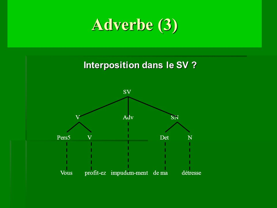 Adverbe (3) Interposition dans le SV Adv SN Pers5 V N Det