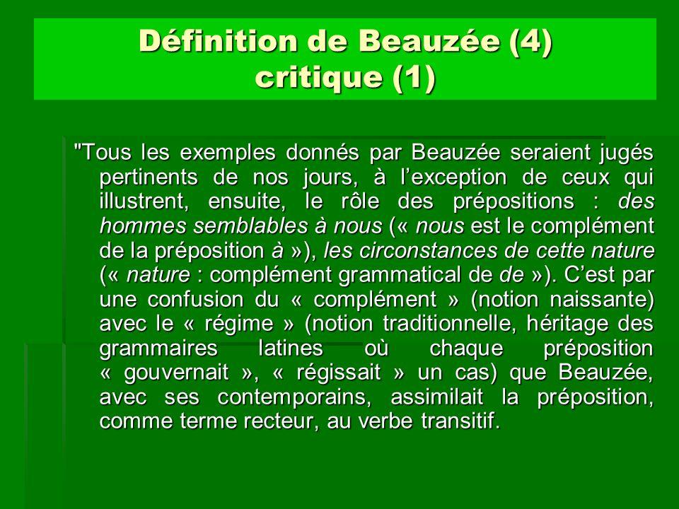 Définition de Beauzée (4) critique (1)
