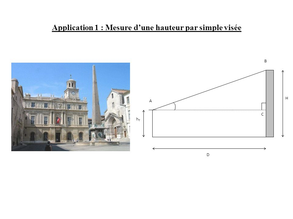 Application 1 : Mesure d'une hauteur par simple visée