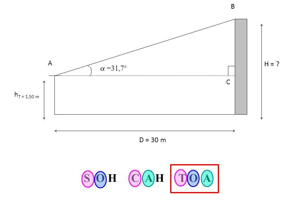 H = hT = 1,50 m D = 30 m A C B  =31,7° S O H C A H T O A