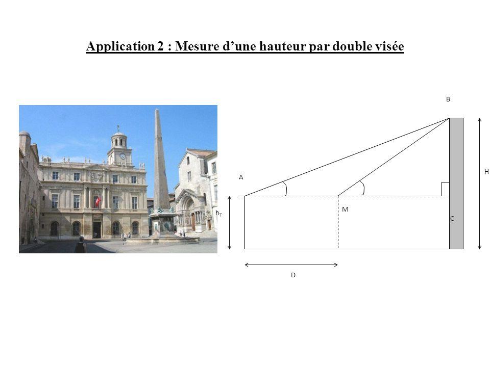 Application 2 : Mesure d'une hauteur par double visée