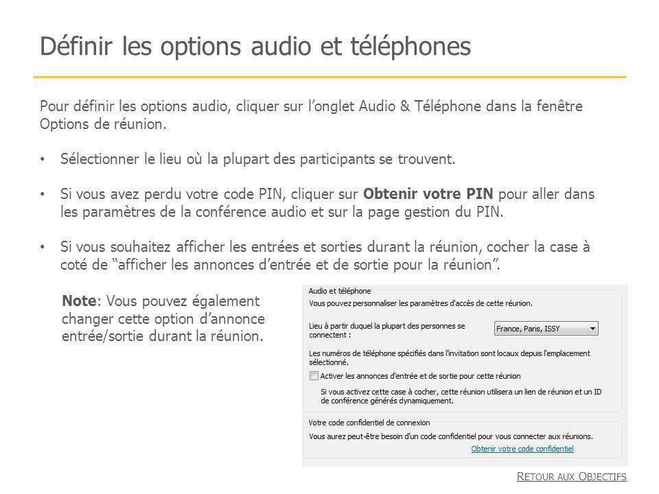 Définir les options audio et téléphones