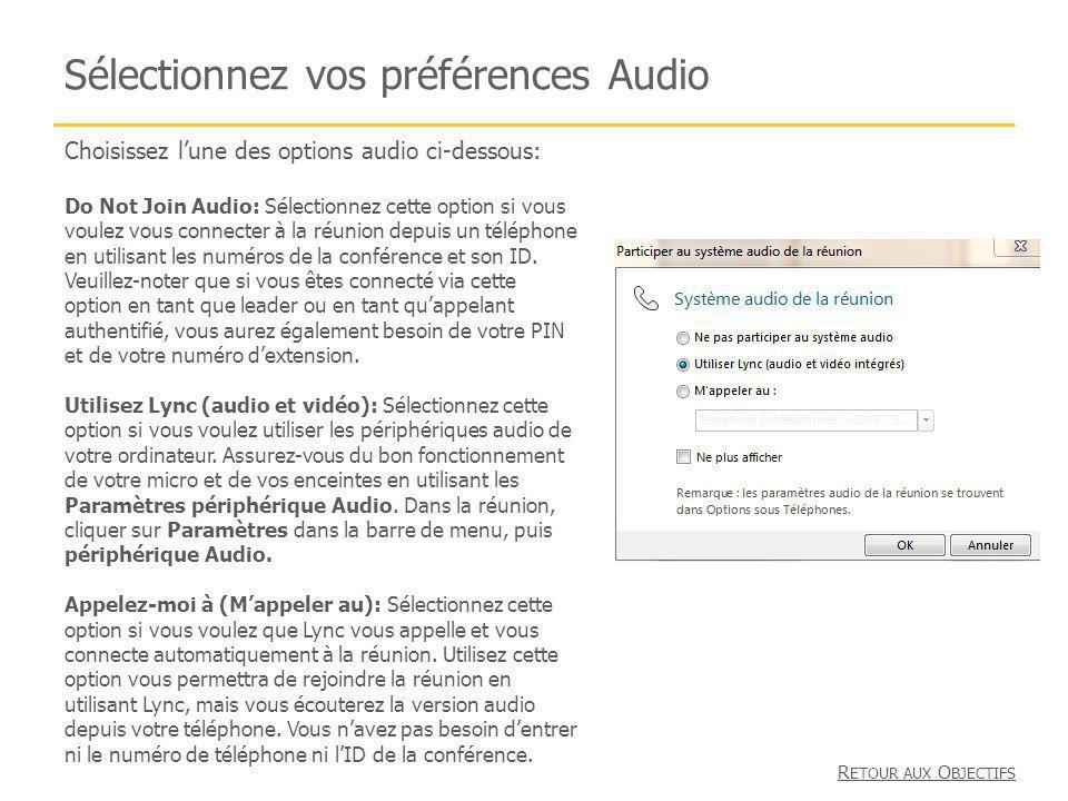 Sélectionnez vos préférences Audio