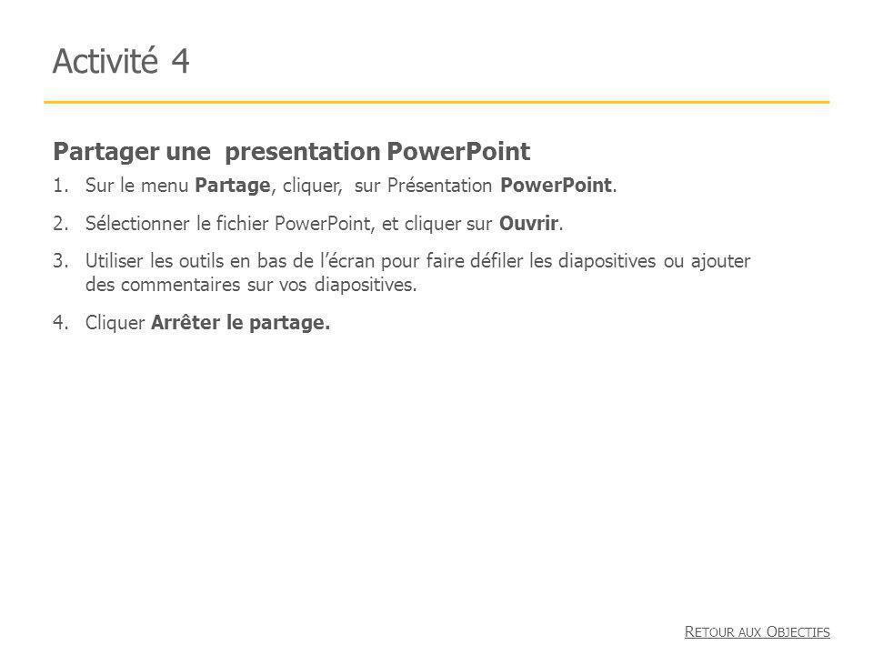 Activité 4 Partager une presentation PowerPoint