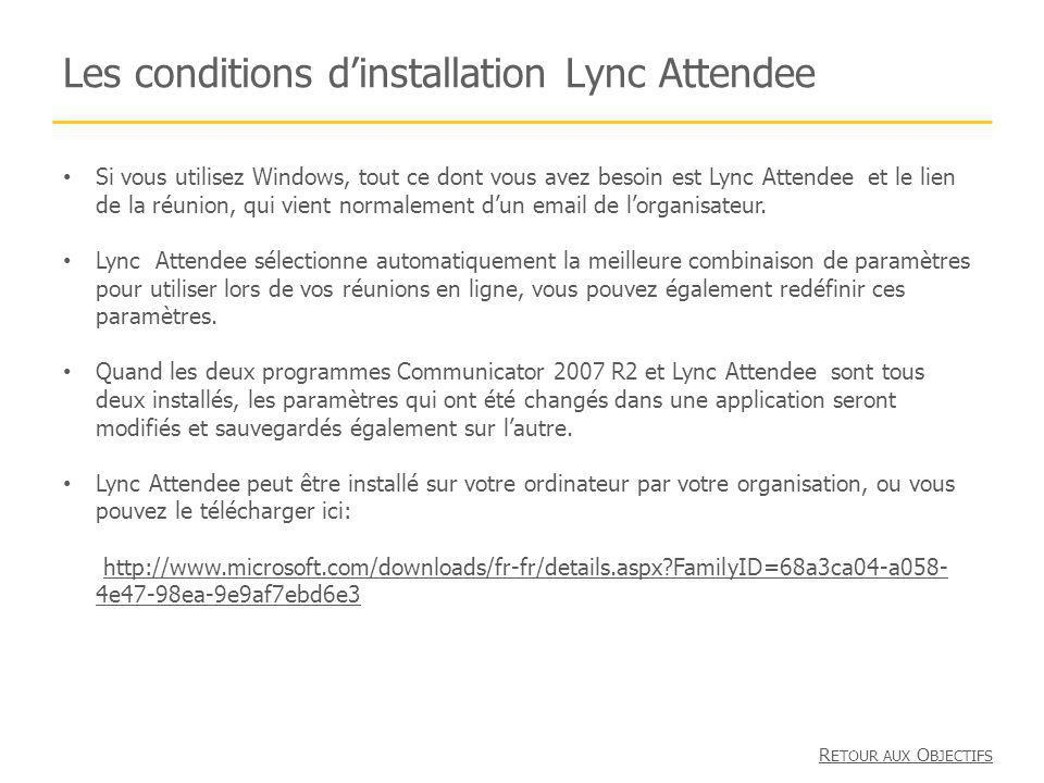 Les conditions d'installation Lync Attendee