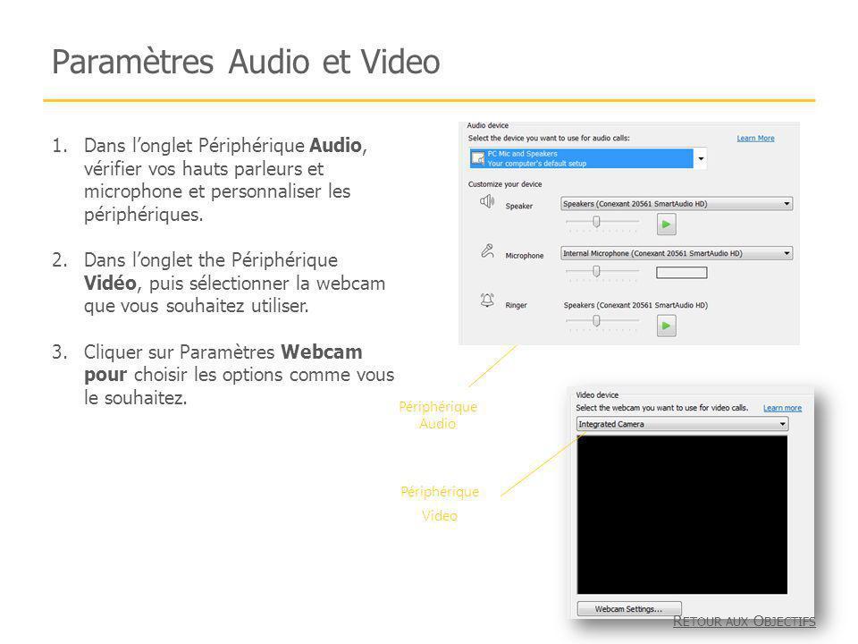 Paramètres Audio et Video