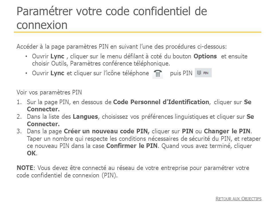 Paramétrer votre code confidentiel de connexion