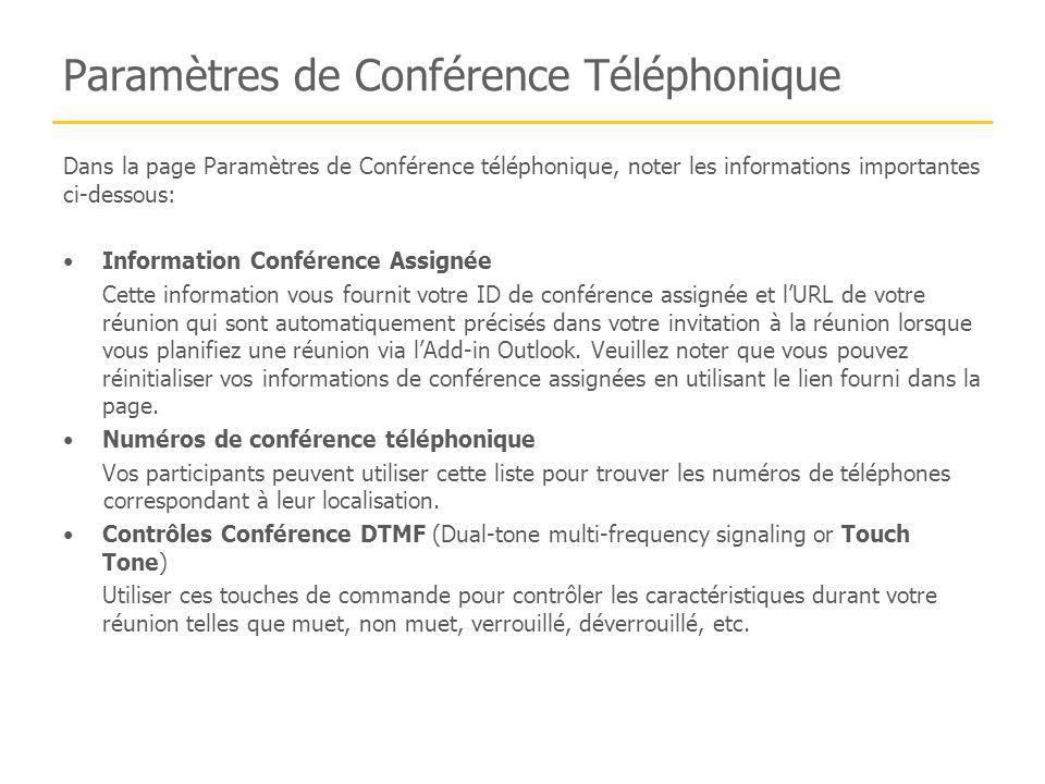 Paramètres de Conférence Téléphonique