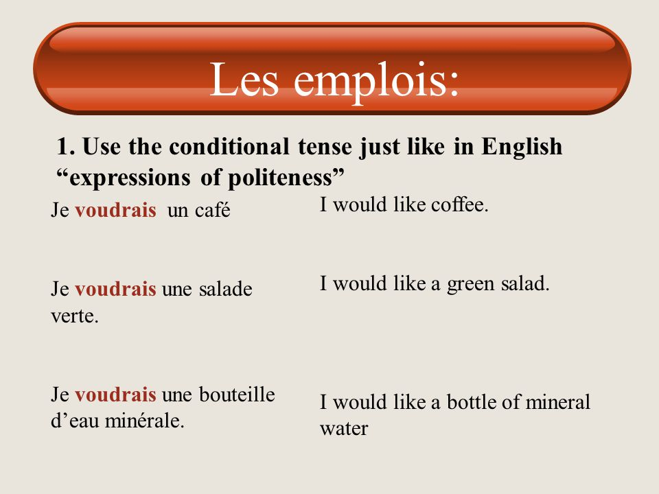Les emplois: 1. Use the conditional tense just like in English expressions of politeness I would like coffee.