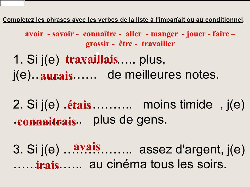 2. Si j(e) …………….. moins timide , j(e) …………….. plus de gens.