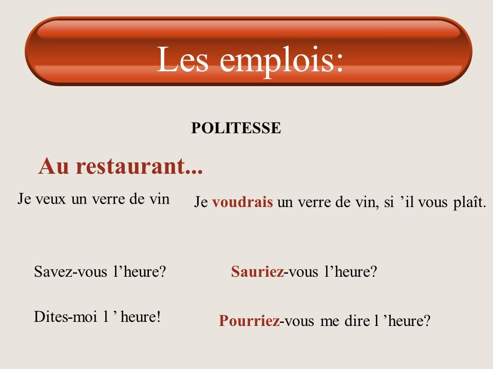 Les emplois: Au restaurant... POLITESSE Je veux un verre de vin