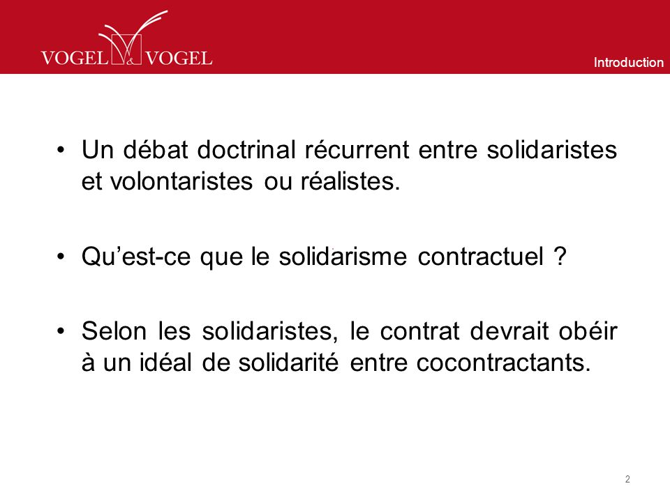 Qu'est-ce que le solidarisme contractuel