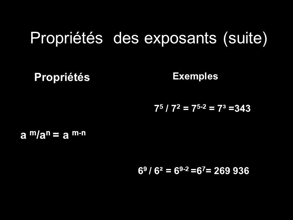 Propriétés des exposants (suite)
