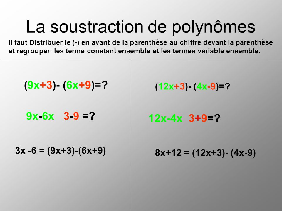 La soustraction de polynômes