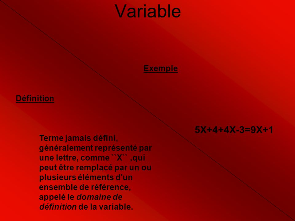 Variable 5X+4+4X-3=9X+1 Exemple Définition
