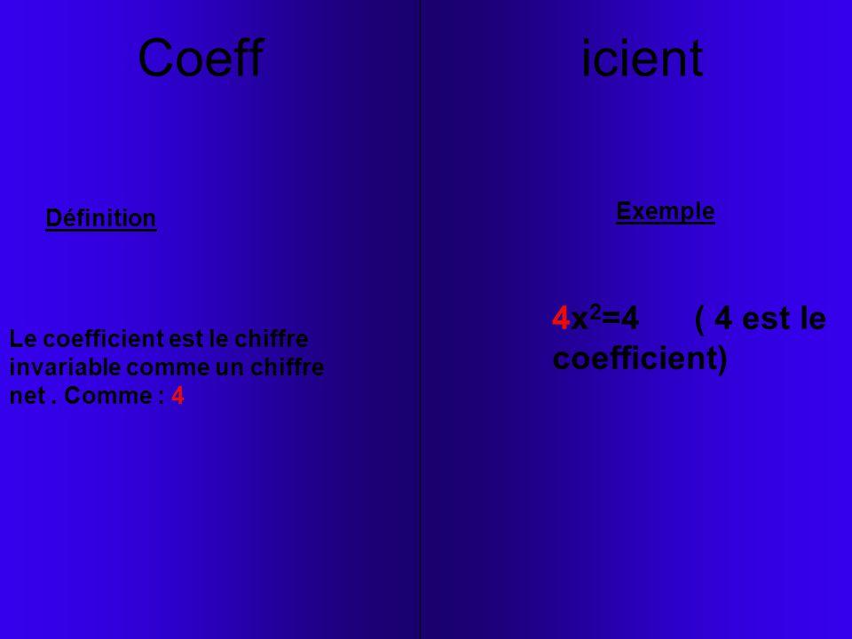 Coeff icient 4x2=4 ( 4 est le coefficient) Exemple Définition