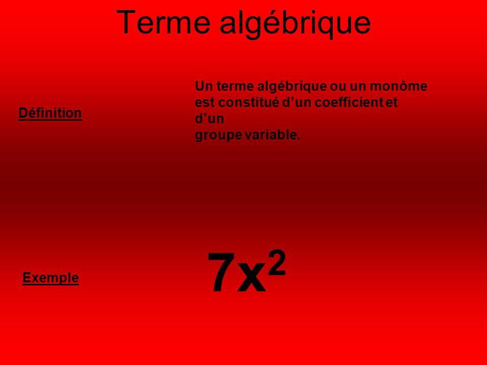 Terme algébrique Un terme algébrique ou un monôme est constitué d'un coefficient et d'un. groupe variable.
