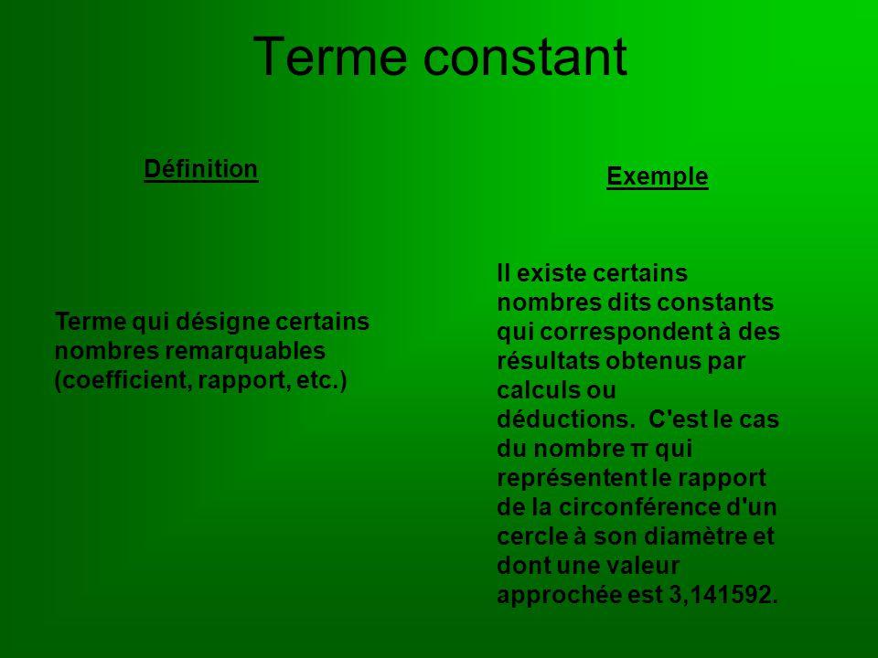 Terme constant Définition Exemple