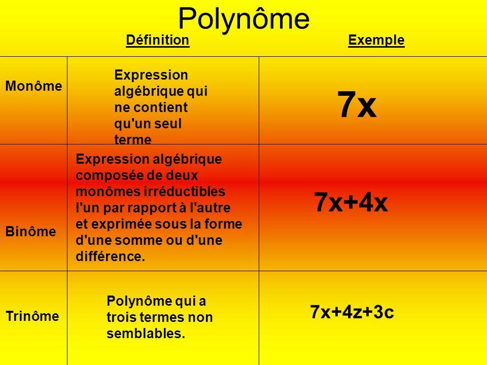 7x Polynôme 7x+4x 7x+4z+3c Définition Exemple