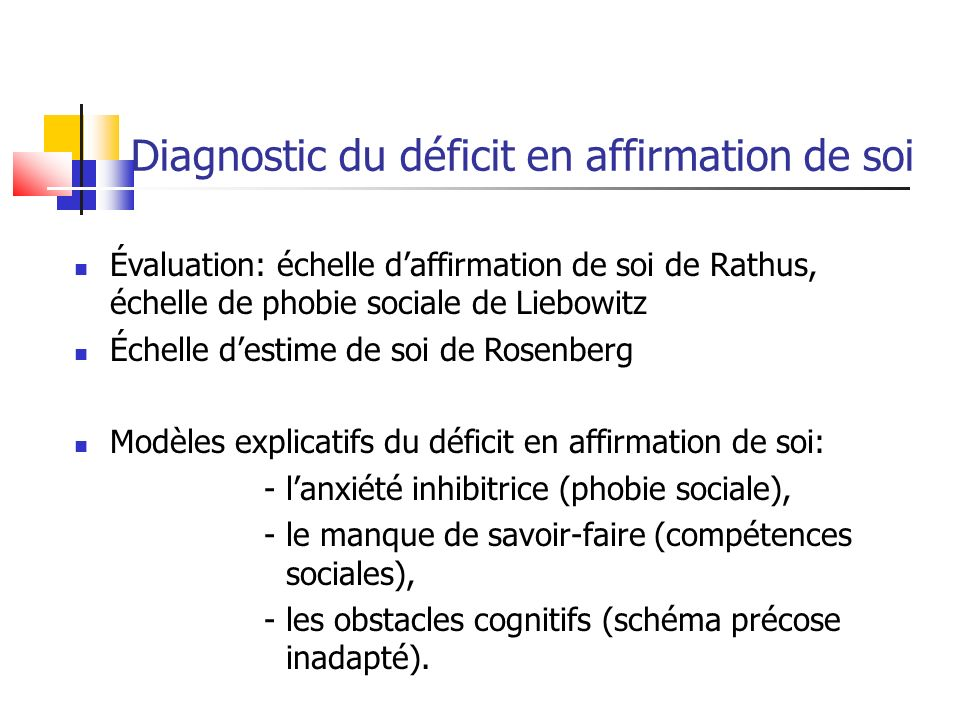 Diagnostic du déficit en affirmation de soi