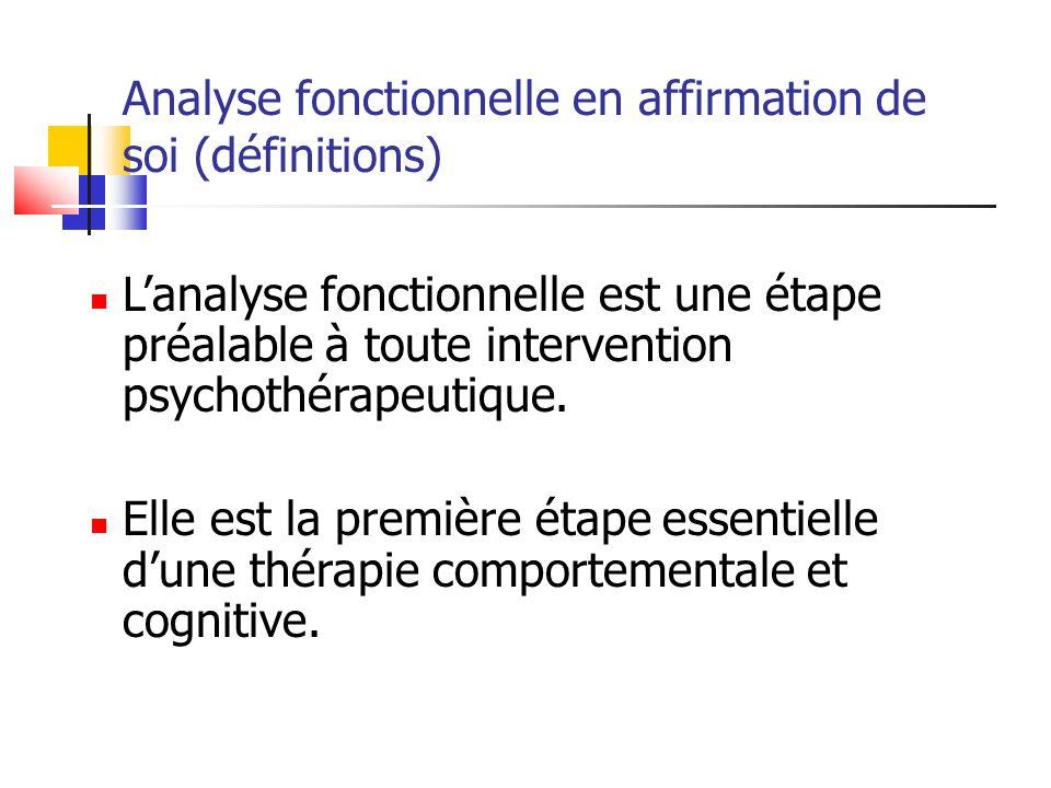 Analyse fonctionnelle en affirmation de soi (définitions)